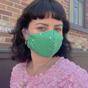 Scrunchie Checkered Face Mask
